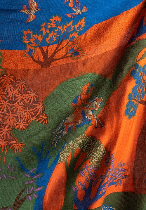 Etro Historic Landscape Tapestry Inspired Shawl in Orange / Blue