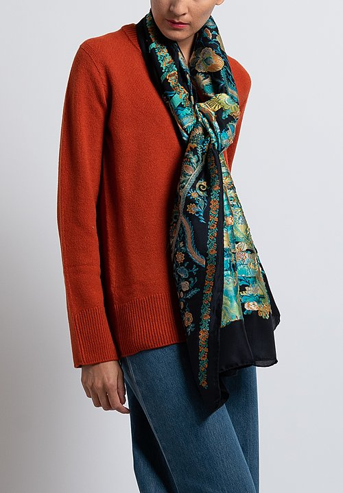 Etro Ornate Floral Pattern Scarf in Black / Teal