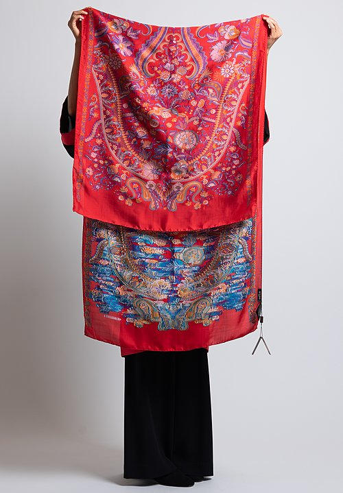 Etro Ornate Floral Pattern Scarf in Red / Multi