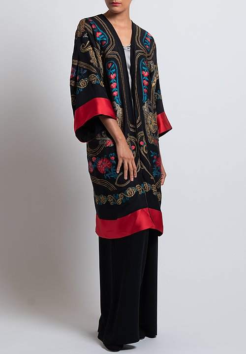 Etro Metallic Floral Embroidered Duster in Black