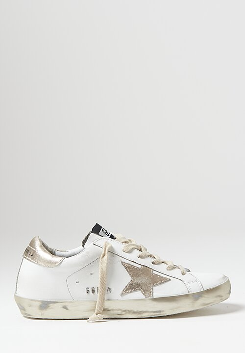 Golden Goose Calf Leather Superstar Sneakers in White / Gold