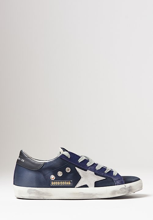 Golden Goose Satin Superstar Sneakers in Blue / Ice