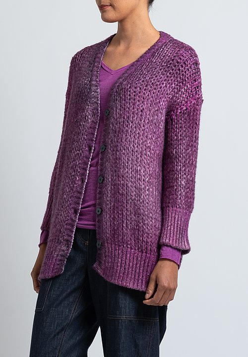 Avant Toi Loose-Knit Cardigan in Magenta