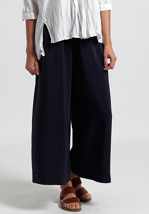 Daniela Gregis Silk Pants in Navy Blue