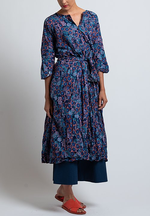 Daniela Gregis Operaio Andrea Dress in Blue/ Orange Flowers