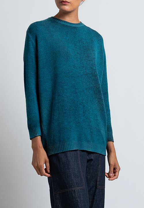 Avant Toi Cashmere Boxy Crew Neck Sweater in Nero/ Turchese