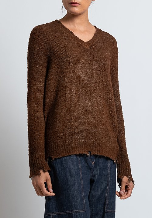 Avant Toi Destroyed V-Neck Knit in Nero/ Suede
