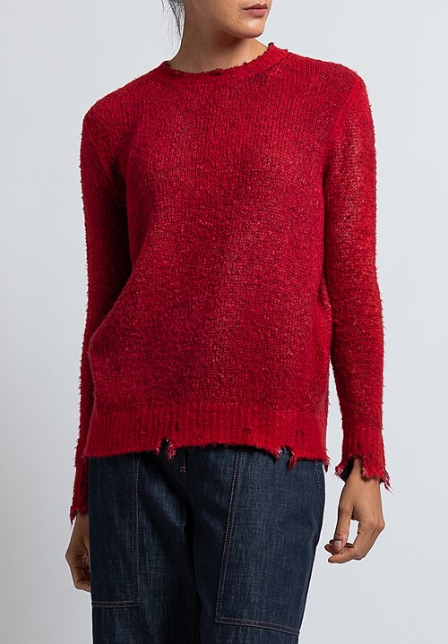 Avant Toi Destroyed Knit in Red