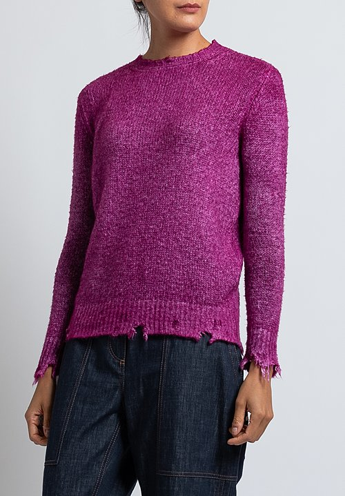 Avant Toi Destroyed Knit in Magenta