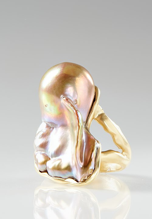 Karen Melfi 18K, Cultured Baroque Pearl Ring