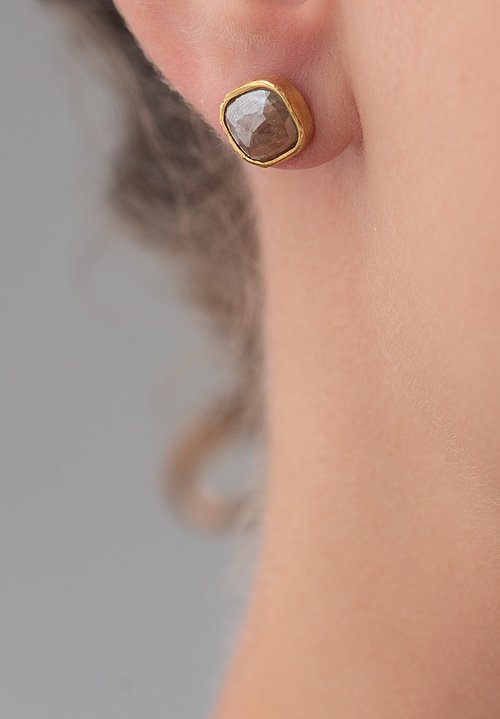 Karen Melfi 22K, Rose Cut Diamond Studs