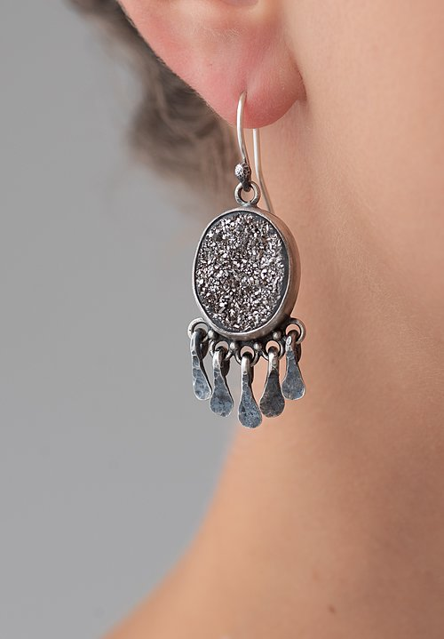 Miranda Hicks Sterling, Titanium Druzy Gypsy Dangle Earrings