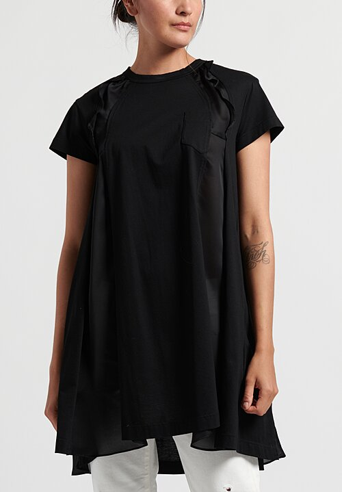 Sacai Long Panel & Ruffle T-Shirt in Black
