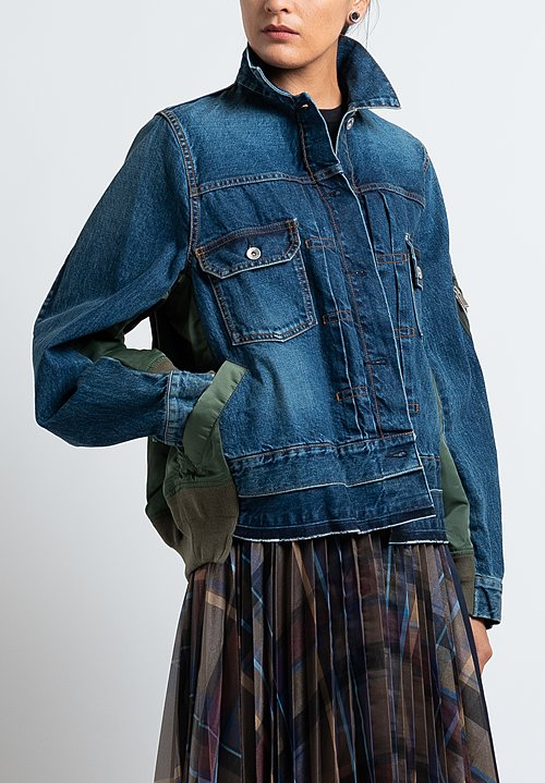 Sacai Denim/ Nylon Multi-Fabric Jacket in Blue/ Khaki