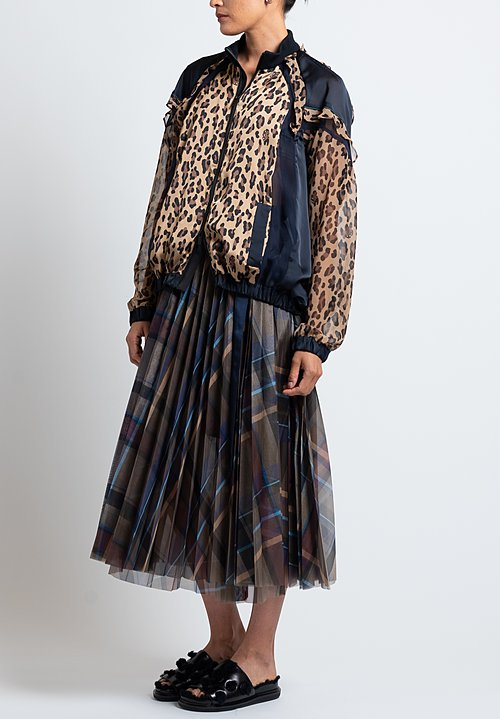 Sacai Satin/ Chiffon Sheer Ruffle Jacket in Beige/ Leopard