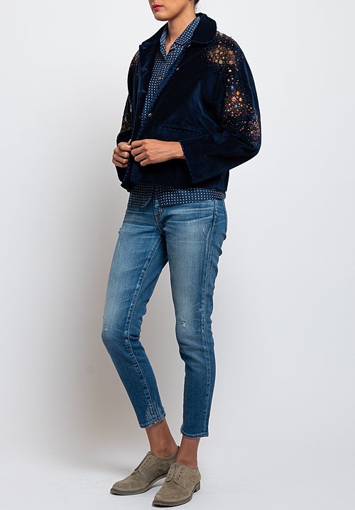Péro Wool/Silk Embroidered Short Jacket in Cobalt