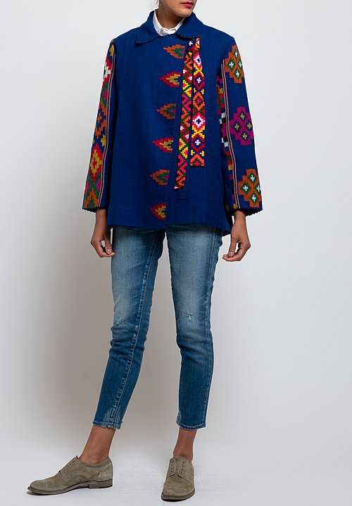 Péro Tribal Pattern Jacket in Cobalt
