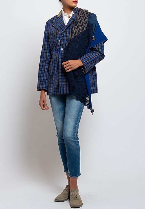 Péro Cotton/ Silk Pattern Jacket in Blue Checker