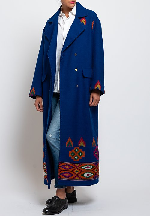 Péro Wool/ Silk Tribal Pattern Coat in Cobalt