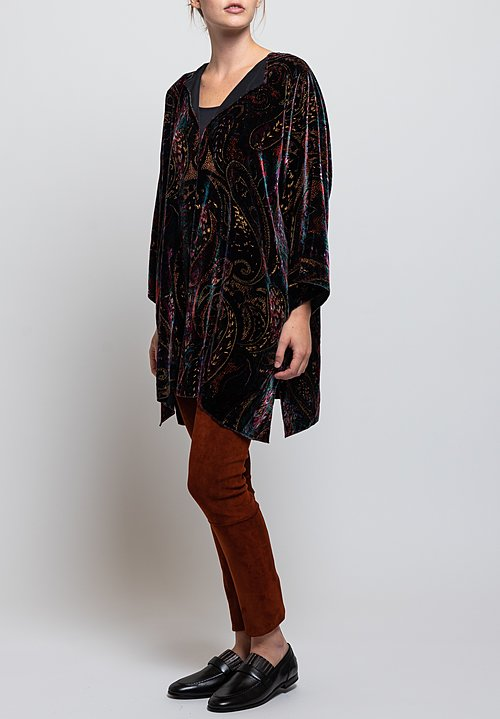 Shi Cashmere Devoré Paisley Jacket in Multicolor