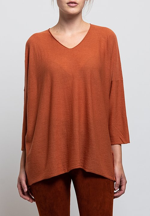 Shi Cashmere Millenium Short Sweater in Nutmeg