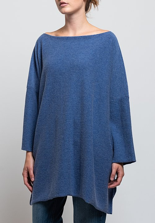 Shi Cashmere Jake Slash Neck Sweater in Lapis