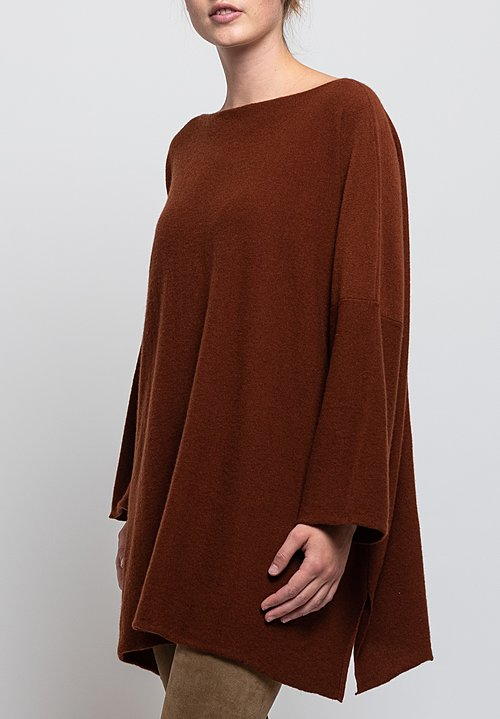 Shi Cashmere Jake Slash Neck Sweater in Stag