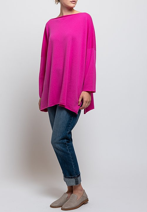 Shi Cashmere Cass Slash Neck Sweater in Fuchsia