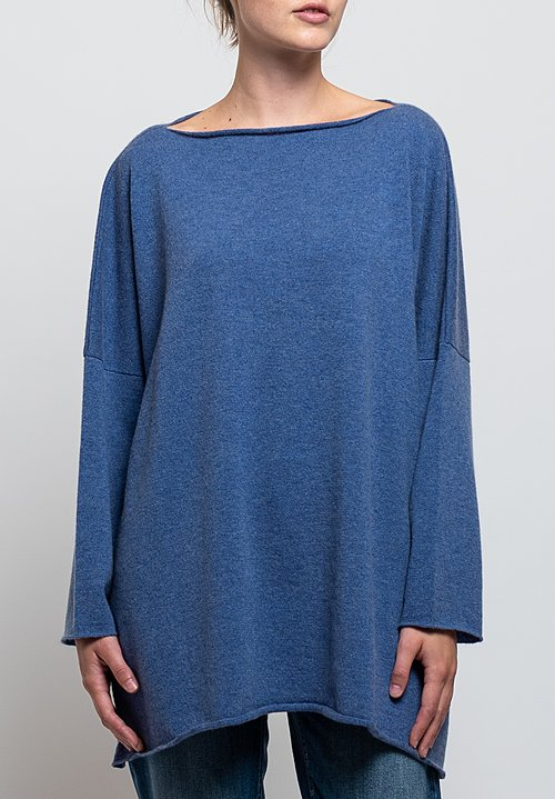 Shi Cashmere Cass Slash Neck Sweater in Lapis