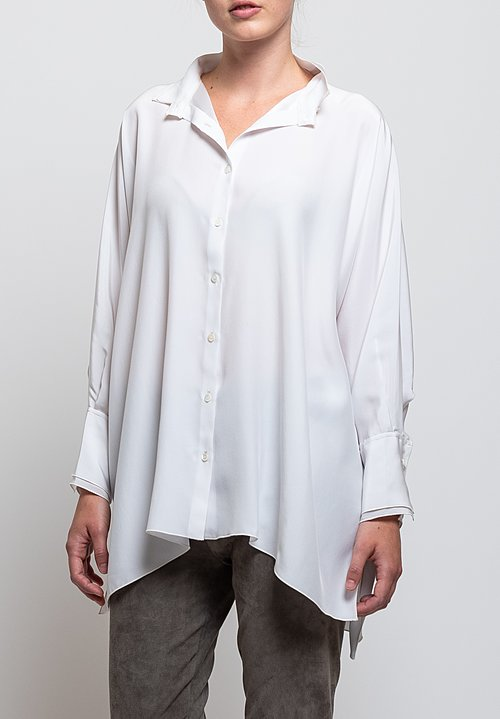 Shi Cashmere Double Collar Shirt in White