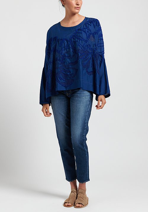 Péro Floral Embroidered Top in Cobalt
