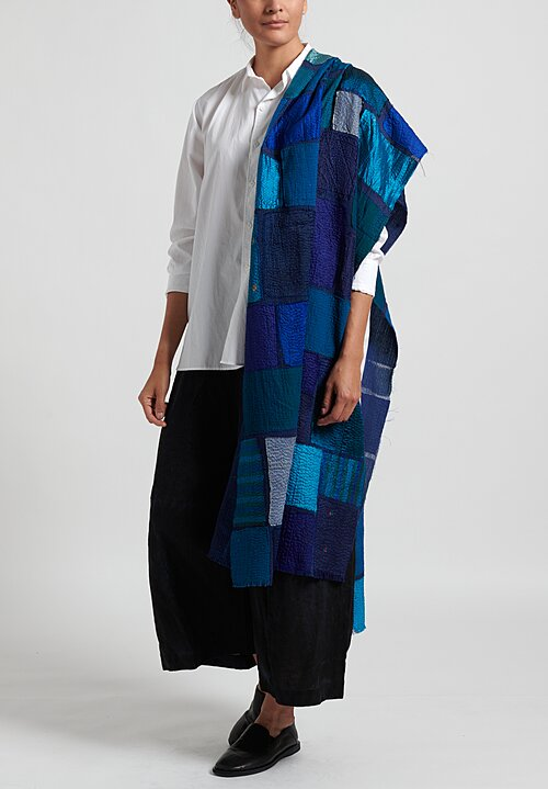 Mieko Mintz Cotton/ Silk 2-Layer Tonal Tile Patch Shawl in Blue