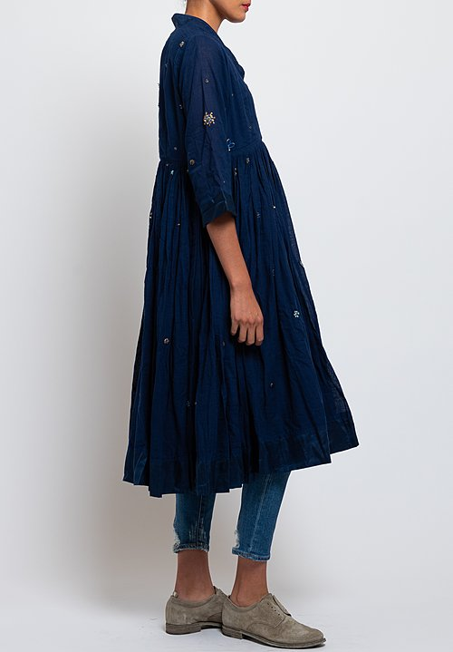 Péro Embroidered Wrap Dress in Cobalt
