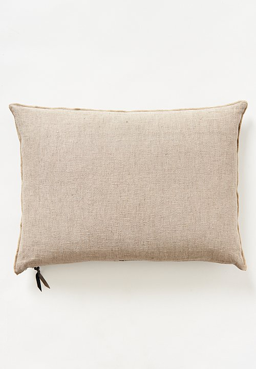 Maison de Vacances Large Crumpled Washed Linen Pillow in Taupe / Ciment