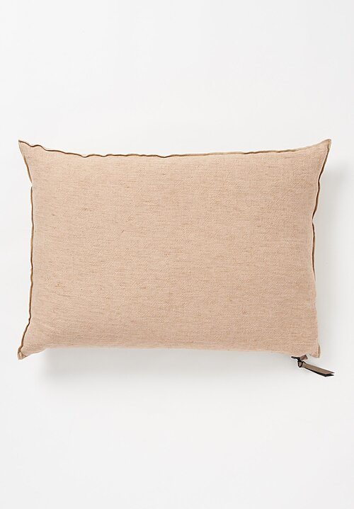 Maison de Vacances Large Crumpled Washed Linen Pillow Nude/ Givré