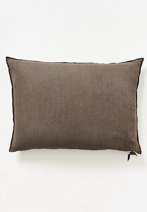 Maison de Vacances Large Crumpled Washed Linen Pillow in Terre / Brûlé