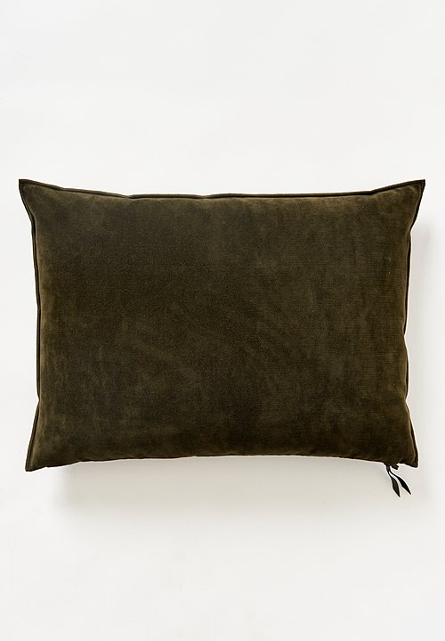 Maison de Vacances Large Vintage Velvet Pillow in Kaki