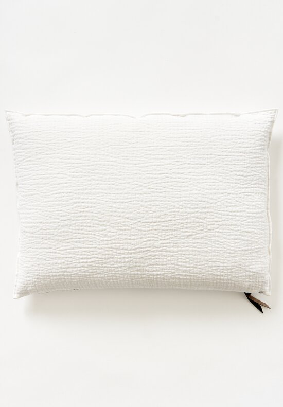 Maison de Vacances Large Quilted Crumpled Washed Linen Pillow Blanc/ Ecru