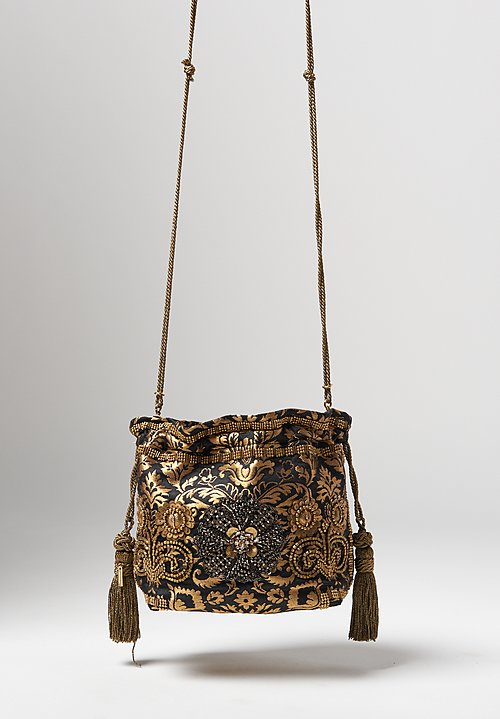 Etro Brocade & Brass Beaded Cinch Top Bag
