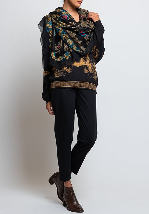 Etro Metallic Paisley Brocade Effect Shawl in Black