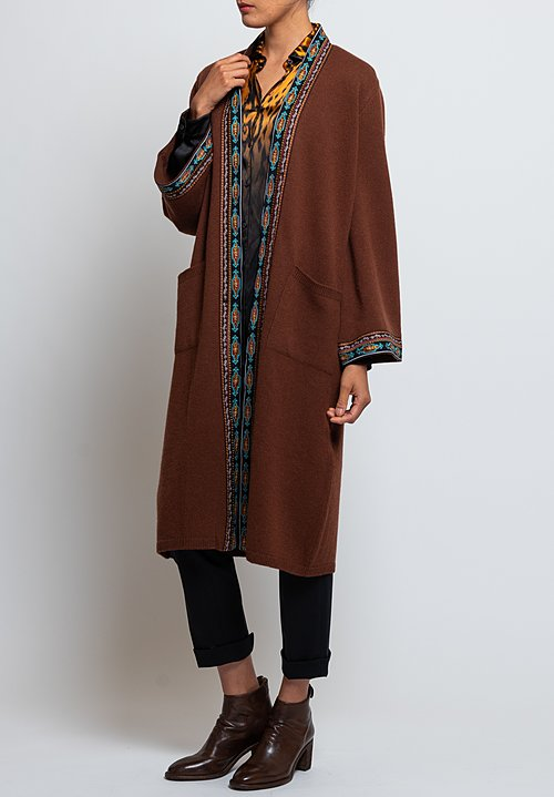 Etro Long Embroidered Ribbon Edge Cardigan in Brown