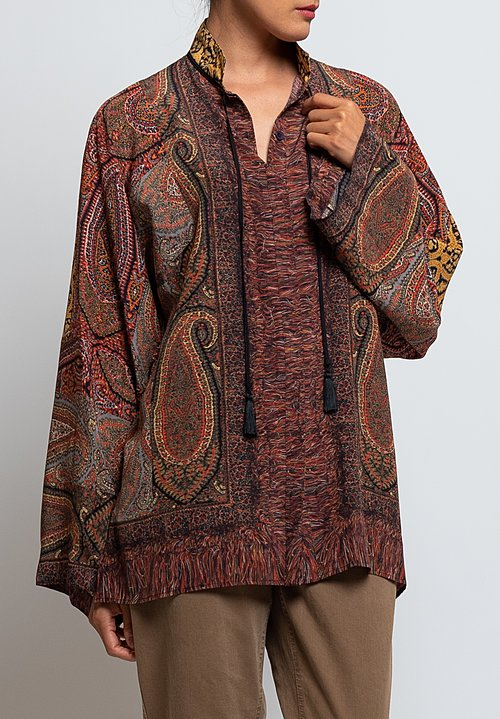 Etro Silk Paisley Print Shirt in Orange
