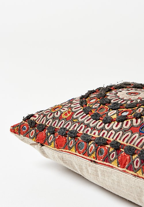 Antique Reshmi Embroidered Long Lumbar Pillow in Black/ Red