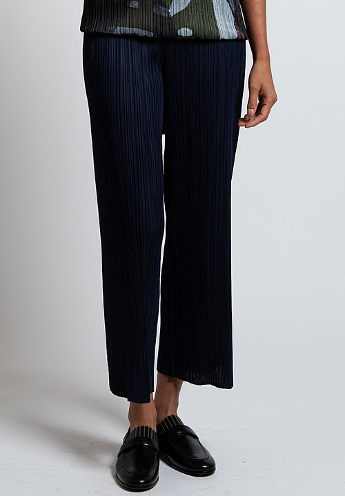 Issey Miyake Pleats Please Petal Pants in Navy