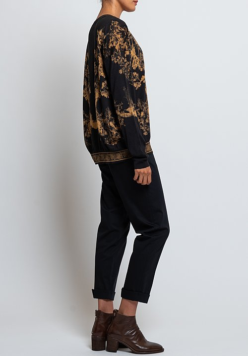 Etro V-Neck Forest Print Sweater in Black