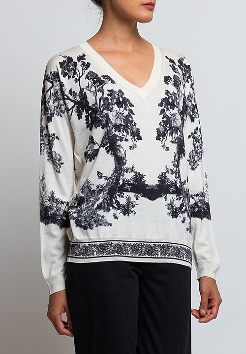 Etro V-Neck Forest Print Sweater in White