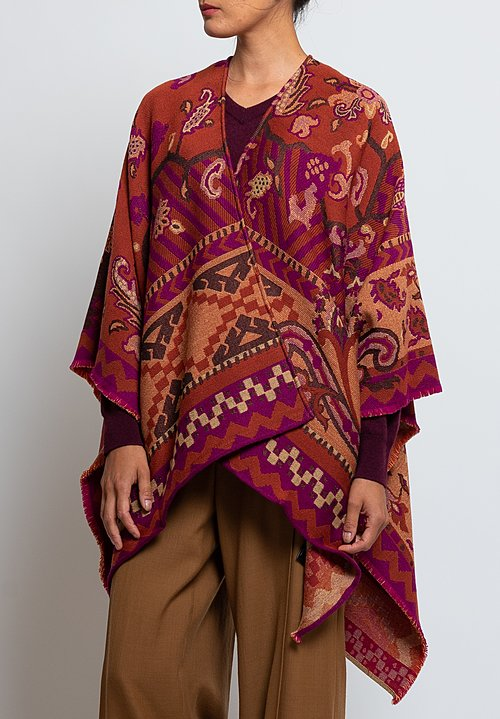 Etro Wool Blend Paisley Fringe Cape in Rust