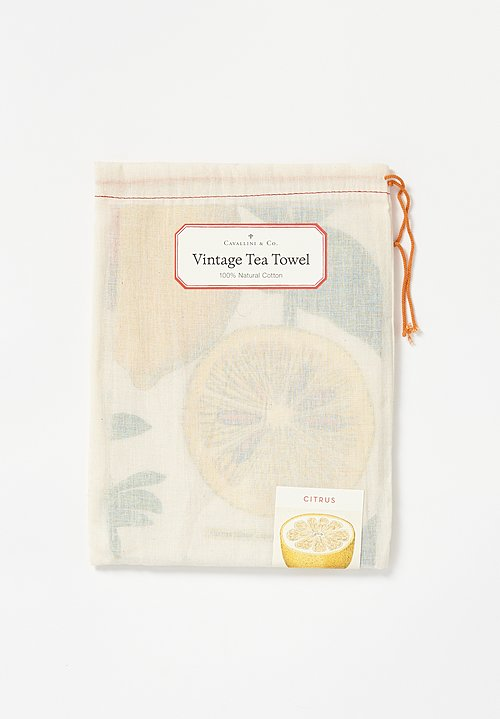 Natural Cotton Citrus Print Tea Towel