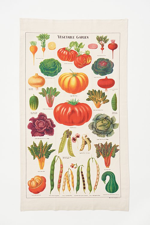 Natural Cotton Vegetable Print Tea Towel