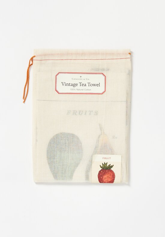 Natural Cotton Fruits Tea Towel in Tan